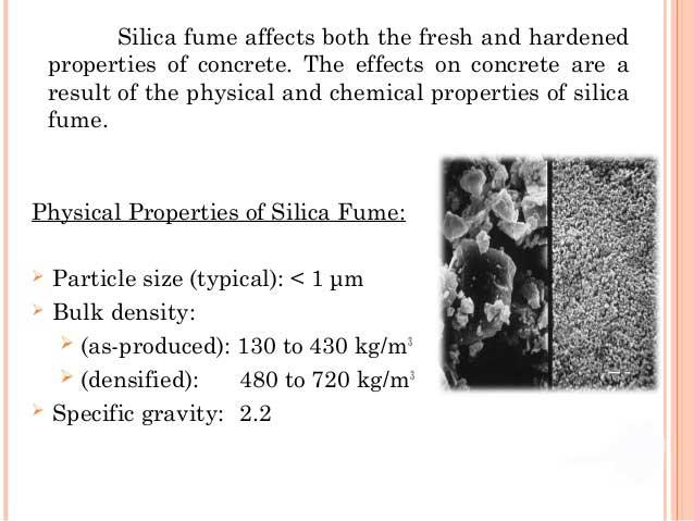 Silica fume bulk specific gravity